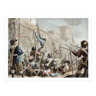 Ataque contra el Boulogne-sur-Mer, grabado por Jea Tarjeta Postal