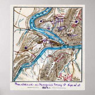 Ataque contra la guerra civil americana 1862 del t posters