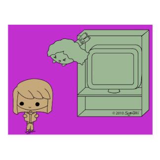 Ataque de chivato Brown y chica verde púrpuras Tarjetas Postales