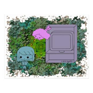 Ataque de chivato chica azul y rosado rompecabez postal