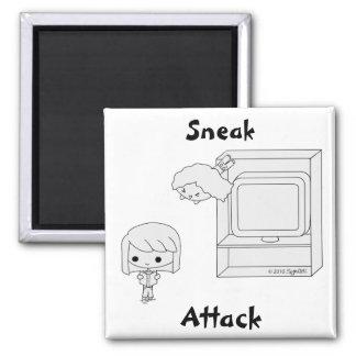 Ataque de chivato (negro y blanco) imán cuadrado