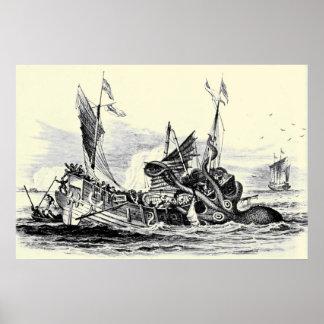 ¡Ataque de Kraken! Impresión Poster