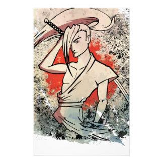 Ataque de la lucha de la espada del samurai de papeleria de diseño
