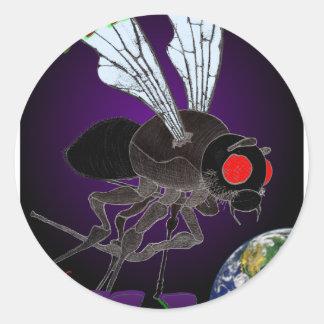 Ataque de la mosca pegatina redonda