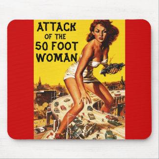 Ataque de la mujer Mousepad de 50 pies Tapete De Ratón