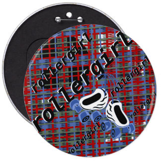 ataque de la tela escocesa del rollergirl pin redondo 15 cm