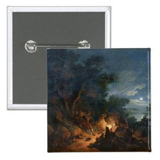 Ataque de los ladrones en la noche, c.1770 pin cuadrada 5 cm