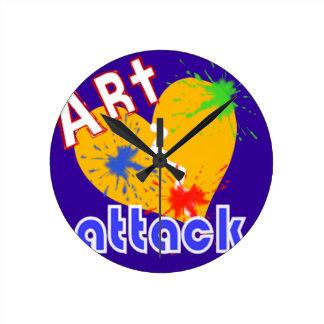 Ataque del arte reloj redondo mediano