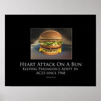 Ataque del corazón contra un poster de motivación