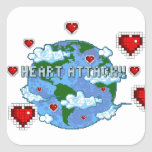 ¡Ataque del corazón!!! Pegatina Cuadradas Personalizadas