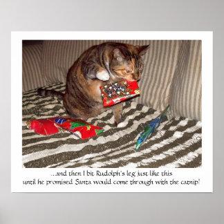 Ataque del gato del navidad póster