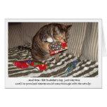 Ataque del gato del navidad tarjeta de felicitación