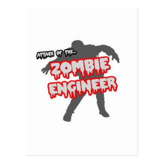 Ataque del ingeniero del zombi tarjetas postales