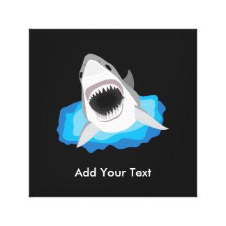 Ataque del tiburón - añada su propio subtítulo impresión en lienzo