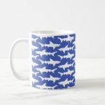 Ataque del tiburón - azul y blanco tazas de café
