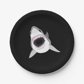 Ataque del tiburón - el gran tiburón blanco plato de papel de 7 pulgadas