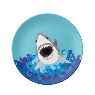 Ataque del tiburón - gran tiburón blanco plato de cerámica