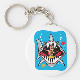 ¡Ataque del tiburón! Llavero Redondo Tipo Pin