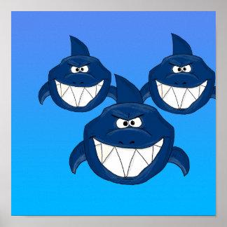 Ataque del tiburón póster