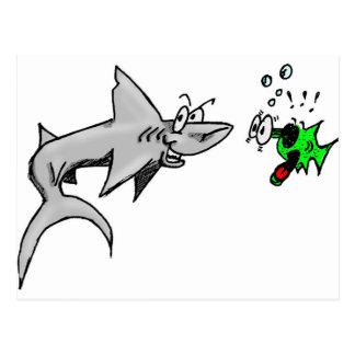 Ataque del tiburón postales