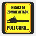 Ataque del zombi pegatina cuadrada