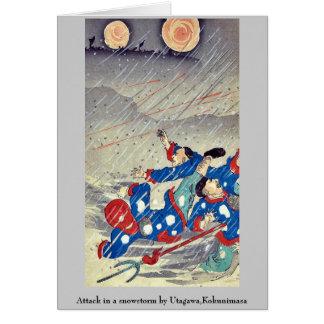 Ataque en una nevada por Utagawa, Kokunimasa Tarjeta Pequeña