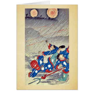 Ataque en una nevada por Utagawa, Kokunimasa Tarjeta De Felicitación