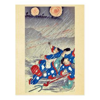 Ataque en una nevada por Utagawa, Kokunimasa Tarjeta Postal