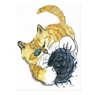 Ataque observado del hilado del gatito uno del tarjeta postal