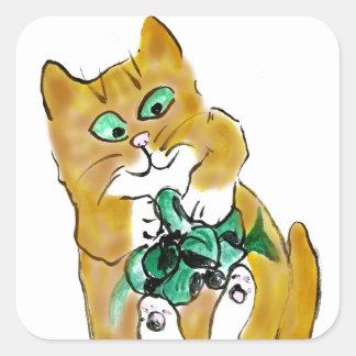 Ataque verde de la cinta por el gatito calcomanía cuadradas