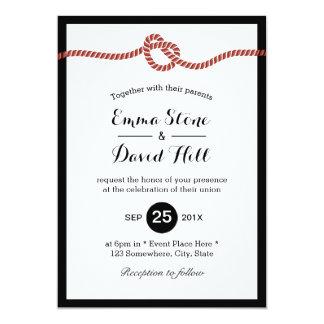"""Atar el boda simple del corazón de la cuerda roja invitación 5"""" x 7"""""""