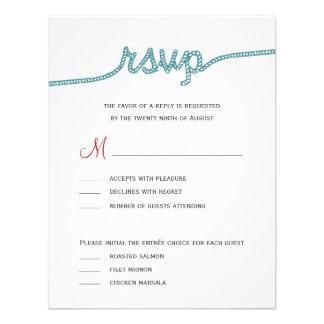 Atar el nudo que casa las tarjetas de RSVP Invitación Personalizada