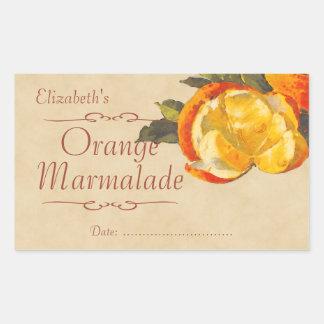 Atasco anaranjado o enlatado rectangular pegatinas