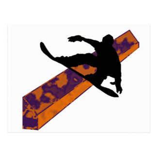 Atasco de la noche de la snowboard tarjetas postales