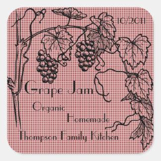 Atasco de la uva personalizar colcomanias cuadradas personalizadas