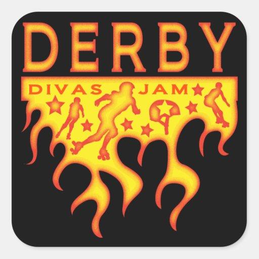 Atasco de las divas de Derby Pegatina Cuadrada