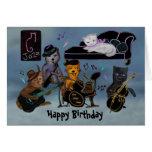 Atasco gordo del cumpleaños de los gatos tarjeton