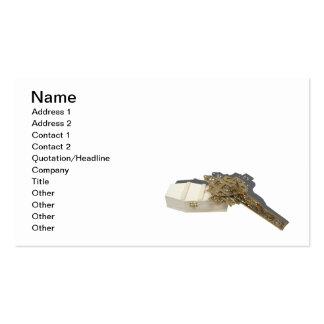 Ataúd de madera del crucifijo de cobre amarillo plantilla de tarjeta personal