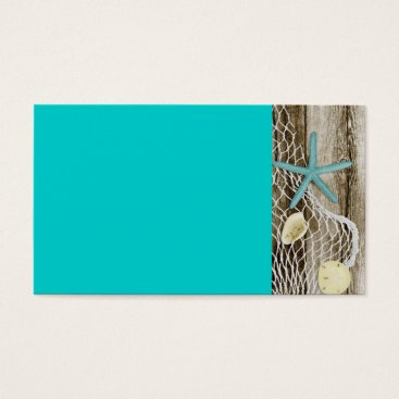 Beach Themed ATB TEAL STARFISH SHELLS NET BROWN BOARDWALK WOOD BUSINESS CARD