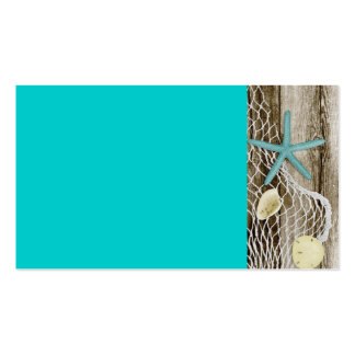 ATB TEAL STARFISH SHELLS NET BROWN BOARDWALK WOOD Double-Sided STANDARD BUSINESS CARDS (Pack OF 100)