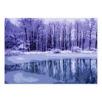 ATC azul de la charca del invierno Tarjetas De Visita