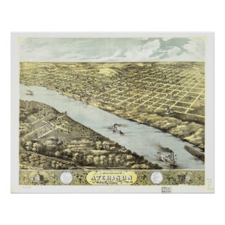 Atchison Kansas 1869 Panoramic Map Poster