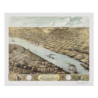 Atchison, KS Panoramic Map - 1869 Poster