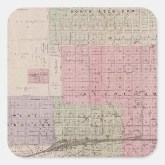 Atchison y vecindad, Kansas Calcomanía Cuadrada