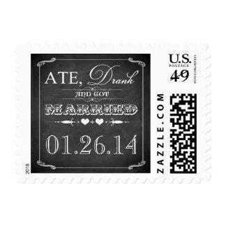Ate, Drank & Got Married Vintage Chalkboard Stamp