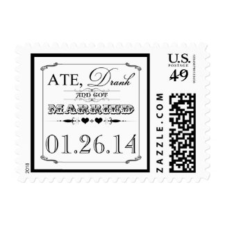 Ate, Drank & Got Married Vintage Hearts Stamp