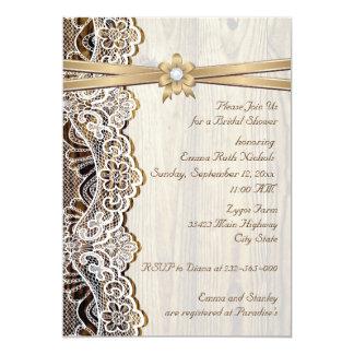 Ate, flor de la cinta y madera que casan la ducha invitación