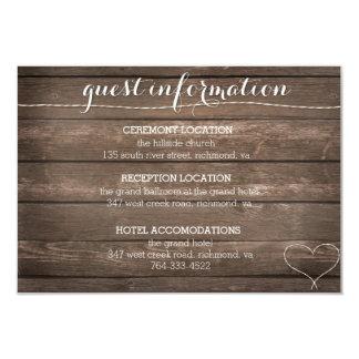 Ate la tarjeta de información de madera rústica invitación 8,9 x 12,7 cm