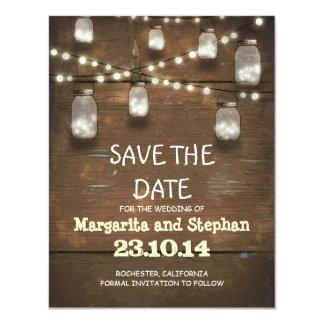ate las luces y los tarros de albañil ahorran las invitación 10,8 x 13,9 cm