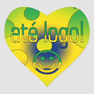 Até Logo! Brazil Flag Colors Pop Art Heart Sticker